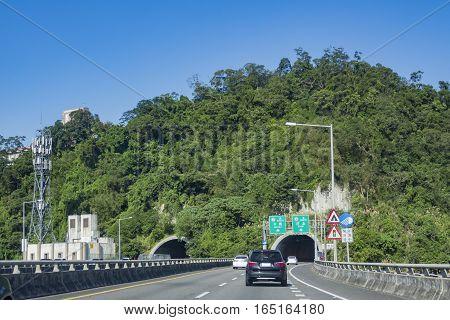 Highway 3 Towards Muzha, Xizhi At Taiwan