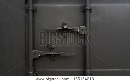 Front view Container. Open Container. Color gray Cargo Container.