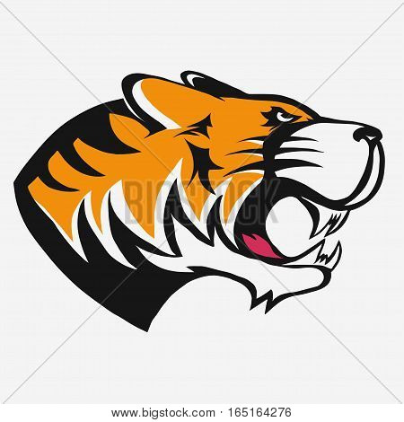 Tiger logo. Mascot head, wild animal portrait emblem, predator face silhouette, Hand drawn Emblem t-shirt design. Vector