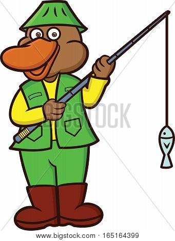 Platypus Fisherman Cartoon Animal Character Isolated on White