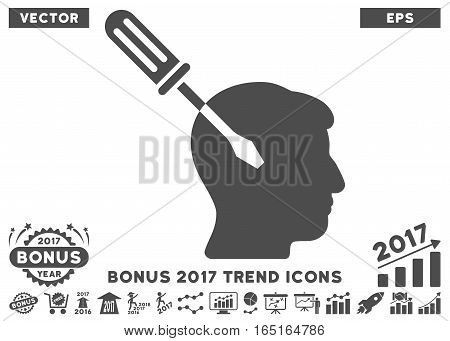 Gray Intellect Screwdriver Tuning pictograph with bonus 2017 year trend symbols. Vector illustration style is flat iconic symbols white background.