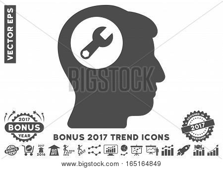 Gray Head Wrench icon with bonus 2017 year trend pictograph collection. Vector illustration style is flat iconic symbols white background.