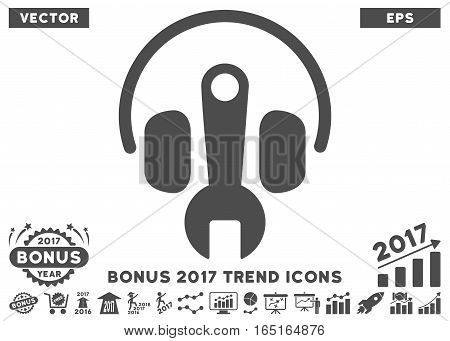 Gray Headphones Tuning Wrench icon with bonus 2017 trend pictures. Vector illustration style is flat iconic symbols white background.