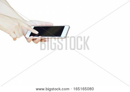 phone and hand isolated white smartphone on white