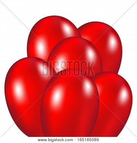 Red festive balloons vector illustration on a white background