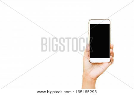 hand and Mobile phone on white background