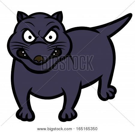 Tasmanian Devil Animal Cartoon Character Isolated on White