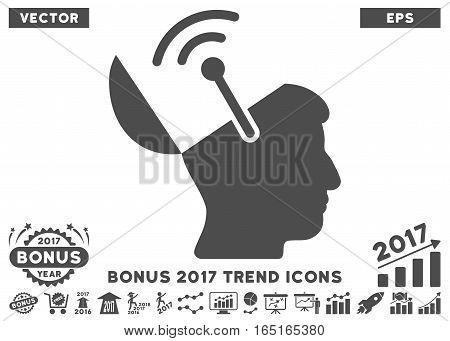 Gray Open Brain Radio Interface pictogram with bonus 2017 trend clip art. Vector illustration style is flat iconic symbols white background.