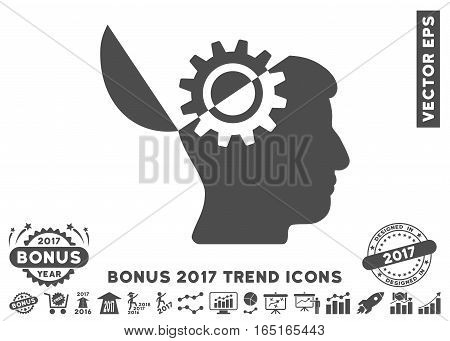 Gray Open Mind Gear pictogram with bonus 2017 year trend pictograms. Vector illustration style is flat iconic symbols white background.