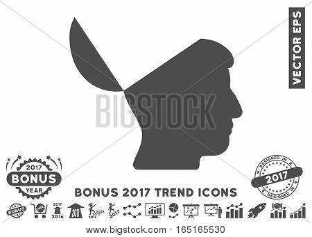 Gray Open Mind pictograph with bonus 2017 trend design elements. Vector illustration style is flat iconic symbols white background.