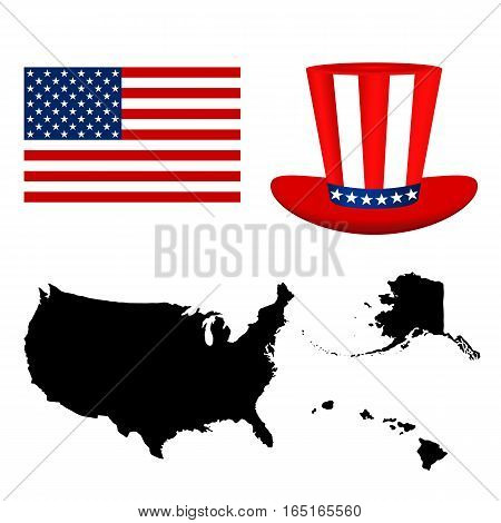 Map of the USA with a hat and flag on white background vector
