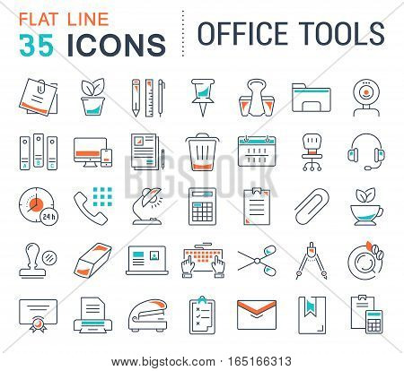 Set vector line icons in flat design office tools with elements for mobile concepts and web apps. Collection modern infographic logo and pictogram.