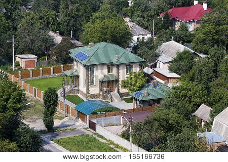 Aerial view of a house with roof in Kiyv Ukraine.