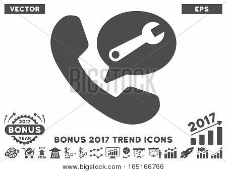 Gray Phone Service Message pictogram with bonus 2017 year trend elements. Vector illustration style is flat iconic symbols white background.