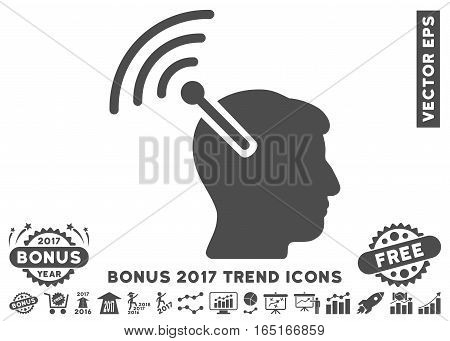 Gray Radio Neural Interface icon with bonus 2017 year trend pictures. Vector illustration style is flat iconic symbols white background.