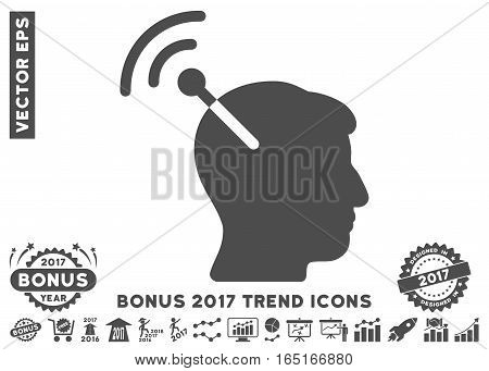 Gray Radio Neural Interface pictograph with bonus 2017 trend design elements. Vector illustration style is flat iconic symbols white background.