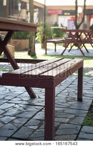 Waterdrops on bench in summer stock photo