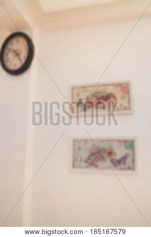Blurred flame and clock wall decoration stock photo
