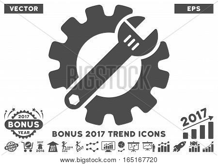 Gray Service Tools pictogram with bonus 2017 trend pictograms. Vector illustration style is flat iconic symbols white background.