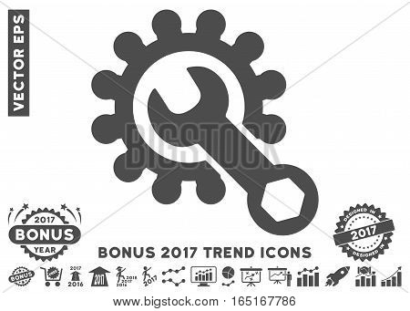 Gray Service Tools pictograph with bonus 2017 trend pictures. Vector illustration style is flat iconic symbols white background.