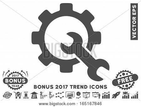 Gray Service Tools pictograph with bonus 2017 trend design elements. Vector illustration style is flat iconic symbols white background.