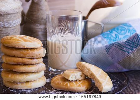 Biscuits With A Glass Of Milk On Tray