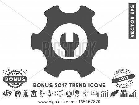 Gray Service Tools icon with bonus 2017 trend design elements. Vector illustration style is flat iconic symbols white background.