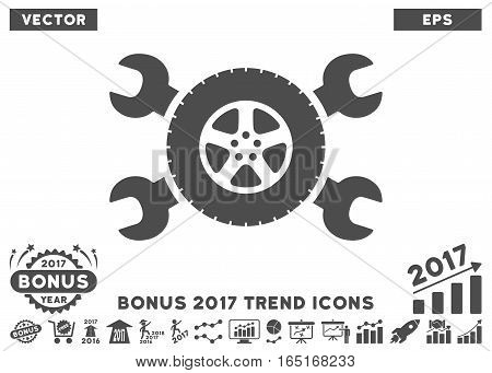 Gray Tire Service Wrenches icon with bonus 2017 trend clip art. Vector illustration style is flat iconic symbols white background.