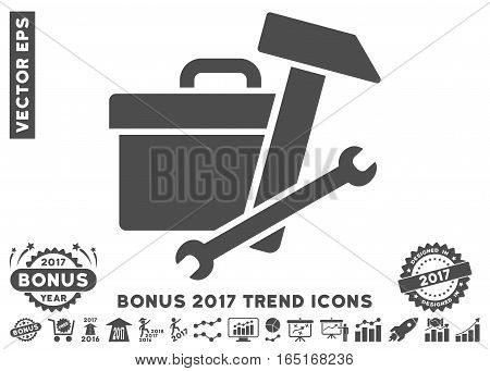 Gray Toolbox pictograph with bonus 2017 year trend design elements. Vector illustration style is flat iconic symbols white background.