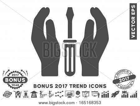 Gray Tuning Screwdriver Care Hands pictograph with bonus 2017 trend symbols. Vector illustration style is flat iconic symbols white background.