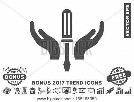 Gray Tuning Screwdriver Maintenance pictograph with bonus 2017 trend design elements. Vector illustration style is flat iconic symbols white background.