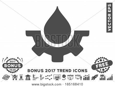 Gray Water Service icon with bonus 2017 year trend pictograph collection. Vector illustration style is flat iconic symbols white background.