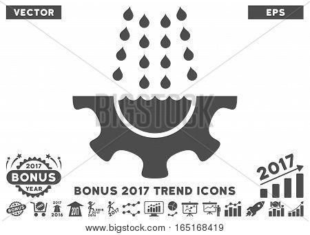 Gray Water Shower Service Gear pictogram with bonus 2017 year trend icon set. Vector illustration style is flat iconic symbols white background.