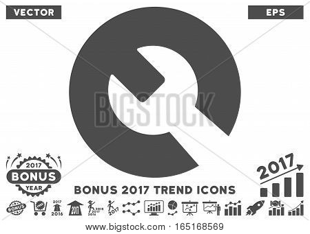 Gray Wrench pictograph with bonus 2017 year trend design elements. Vector illustration style is flat iconic symbols white background.