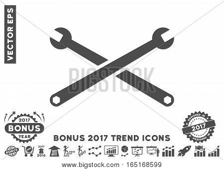 Gray Wrenches pictograph with bonus 2017 year trend elements. Vector illustration style is flat iconic symbols white background.