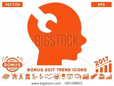 Orange Brain Wrench Tool pictograph with bonus 2017 year trend elements. Vector illustration style is flat iconic symbols white background.