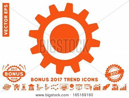 Orange Cog pictogram with bonus 2017 year trend pictograms. Vector illustration style is flat iconic symbols white background.