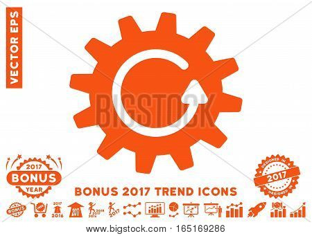 Orange Cogwheel Rotation icon with bonus 2017 trend symbols. Vector illustration style is flat iconic symbols white background.