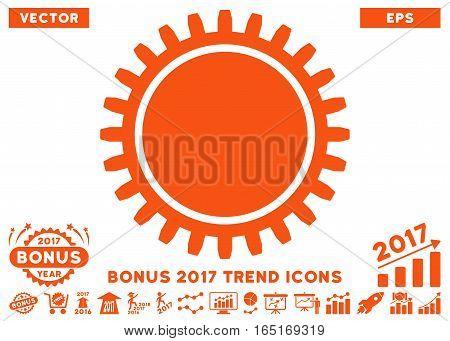 Orange Cogwheel icon with bonus 2017 trend pictograms. Vector illustration style is flat iconic symbols white background.
