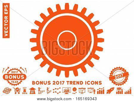 Orange Cogwheel icon with bonus 2017 trend symbols. Vector illustration style is flat iconic symbols white background.
