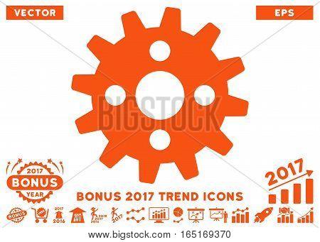 Orange Cogwheel pictograph with bonus 2017 year trend images. Vector illustration style is flat iconic symbols white background.