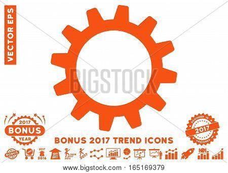 Orange Cogwheel pictograph with bonus 2017 trend design elements. Vector illustration style is flat iconic symbols white background.