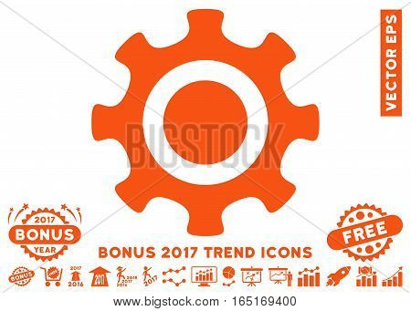 Orange Cogwheel pictogram with bonus 2017 year trend pictograph collection. Vector illustration style is flat iconic symbols white background.