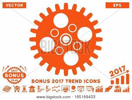 Orange Cogwheel pictogram with bonus 2017 trend design elements. Vector illustration style is flat iconic symbols white background.