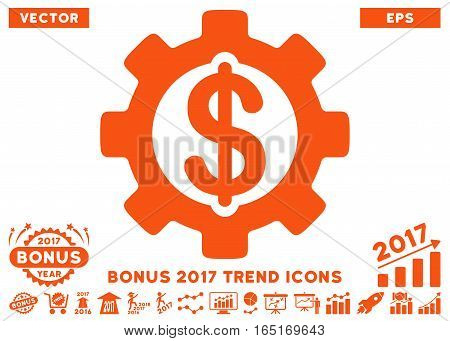 Orange Development Cost pictogram with bonus 2017 trend pictograph collection. Vector illustration style is flat iconic symbols white background.