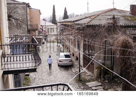 KUTAISI GEORGIA - FEBRUARY 23 2016: old street with houses and stone road. Kutaisi Georgia.