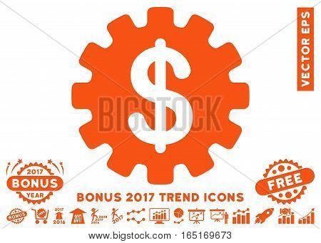 Orange Development Cost icon with bonus 2017 trend symbols. Vector illustration style is flat iconic symbols white background.