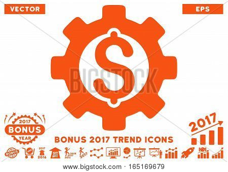 Orange Development Cost pictograph with bonus 2017 trend pictures. Vector illustration style is flat iconic symbols white background.