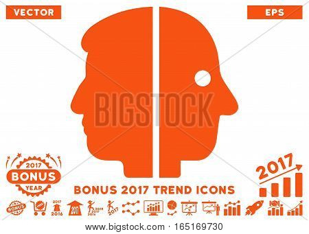 Orange Dual Face pictograph with bonus 2017 year trend pictograms. Vector illustration style is flat iconic symbols white background.