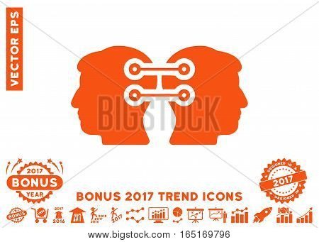 Orange Dual Heads Interface Connection pictograph with bonus 2017 trend pictures. Vector illustration style is flat iconic symbols white background.